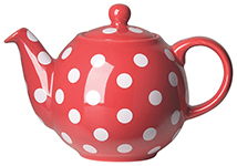 Red w/White Spots Globe Teapot <br> 2-cup