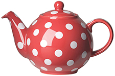 Red w/White Spots Globe Teapot <br> 6-cup