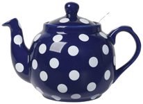 Farmhouse Filter Teapot <br> 4-Cup Cobalt/Wht Spots