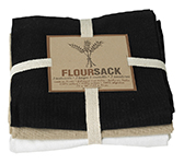 Black/Oyster/White Floursack Dishtowels <br> Set of 3