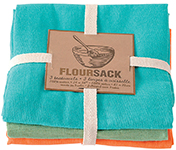 Bali Blue/Leaf/Crush Floursack Dishtowels <br> Set of 3