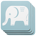 Edgar Elephant Cork-Backed Coasters <br> Set of 4
