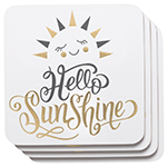 Hello Sunshine Cork-Backed Coasters <br> Set of 4