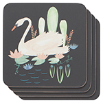 Swan Lake Cork-Backed Coasters <br> Set of 4