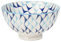 Stamped Bowl Blue Triangles <br> 4 inch