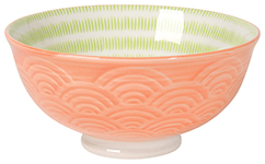 Embossed Bowl Orange Waves <br> 5 inch