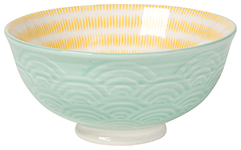 Embossed Bowl Aqua Waves <br> 5 inch