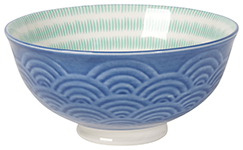 Embossed Bowl Blue Waves <br> 5 inch