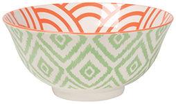 Stamped Bowl Jade Ikat <br> 6 inch