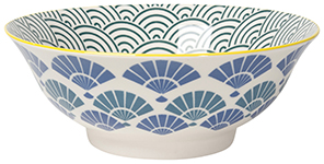 Stamped Bowl Blue Fans <br> 8 inch