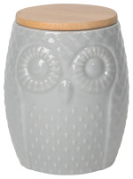 Owl Canister<br> Large Gray
