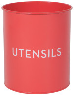 Utensil Crock Tin Red
