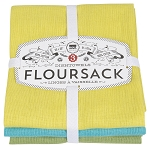 Chartreuse/Turquoise/Leaf Floursack Dishtowels <br> Set of 3  <br>