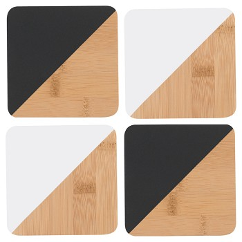 Angle Bamboo Coasters - Black & White<br> Set of 4