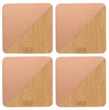 Bamboo Coaster Metallic Copper