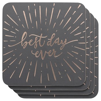 Best Day Ever Cork-Backed Coasters <br> Set of 4