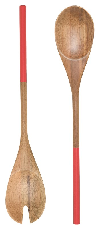 Red Dipped Salad Servers