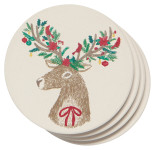 Dasher Deer Soak Up Coaster Set of 4