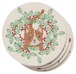 Meowy Christmas Soak Up Coaster Set of 4