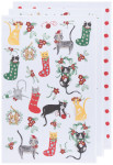 Meowy Christmas Bakers Floursack Dishtowels Set of 4
