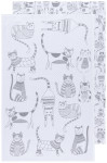 London Gray Color Center Printed Floursack Dishtowels Set of 2