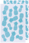 Bali Blue Color Center Printed Floursack Dishtowels Set of 2