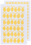 Lemon Color Center Printed Floursack Dishtowels Set of 2