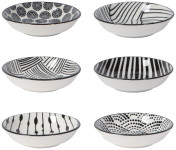 Black Dots Pinch Bowl Set of 6