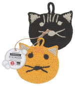Tawashi Animal Scrubbers - Calvin Cat<br> Set of 2