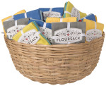 Floursack Dishtowel Basket Display<br> Includes 48 Sets of 3