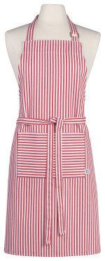 Red Narrow Stripe Chef Apron