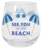 See You At The Beach Wine Glass