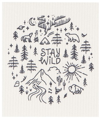 Stay Wild Swedish Sponge Cloth