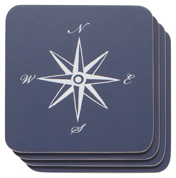 Compass Cork-Backed Coaster Set