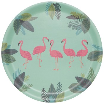 Flamingos Willow Veneer Round Tray